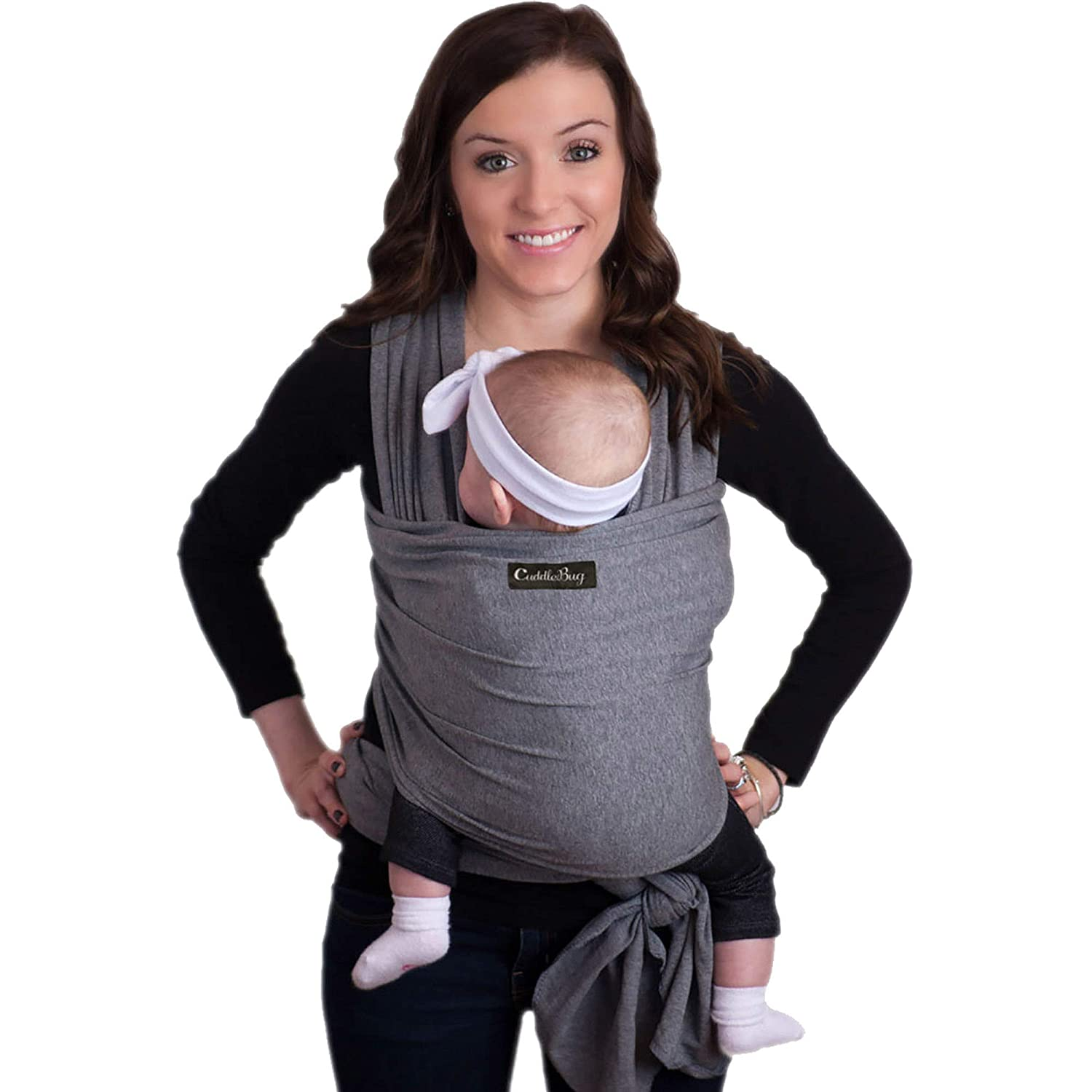 9-in-1 CuddleBug Baby Wrap Sling Carrier – Newborns Toddlers up to 36 lbs – Hands Free – Gentle, Stretch Fabric – Ideal for Baby Showers – One Size Fits All Grey