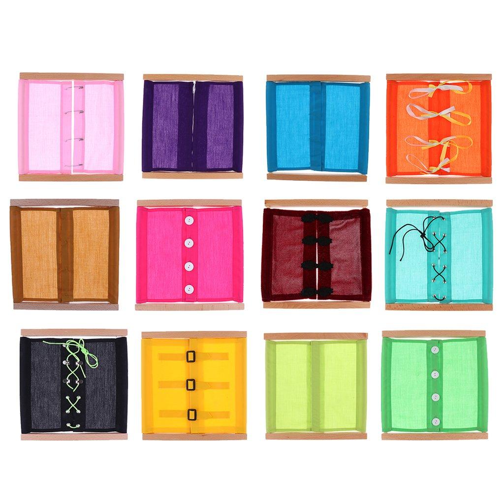 FITYLE Montessori Kleidung Box Spielzeug ( 12 Typen von Reißverschluss/Knopf/Bowknot ) für Kinder