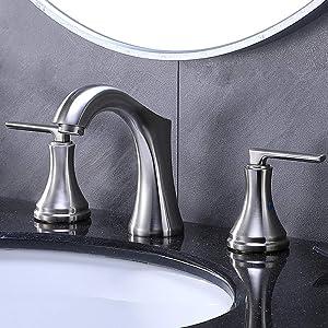 VESLA HOME Modern 2 Handles 3 Holes Brushed Nickel Widespread Bathroom Faucet,Stainless Steel Lavatory Bathroom Vanity Sink Faucet with Water Supply Lines.