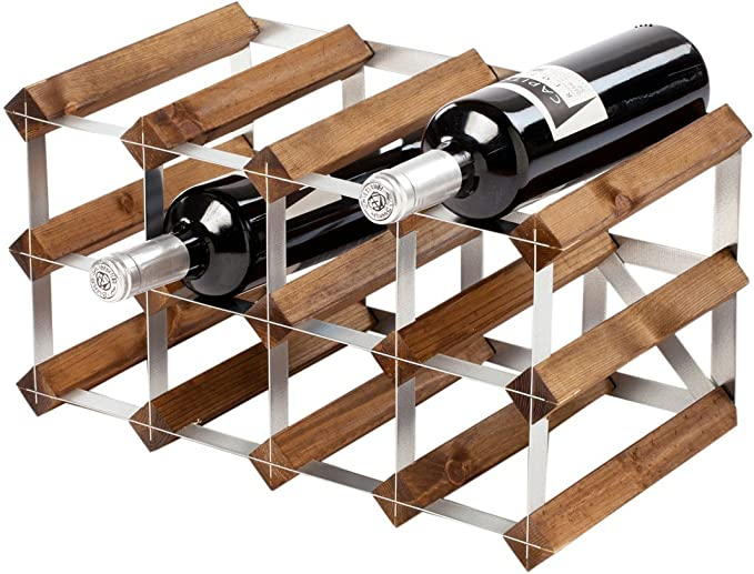 The Traditional Wine Rack Co Traditional Rack 12 Assembled Wine Dark Oak Wood 12 Bottles Amazon Co Uk Kitchen Home