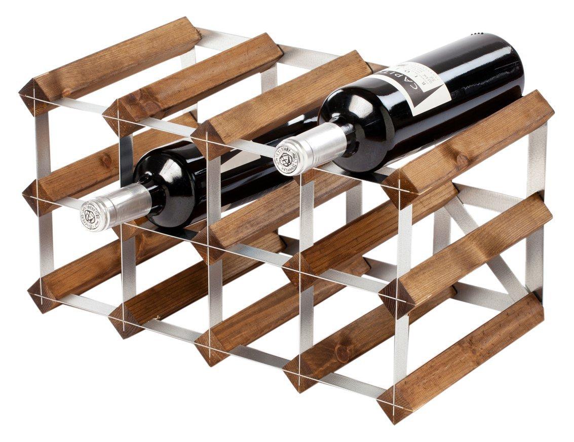 12 Bottles Dark Oak Traditional Wooden Wine Rack 2x4 Hole | Wine Bottle Rack