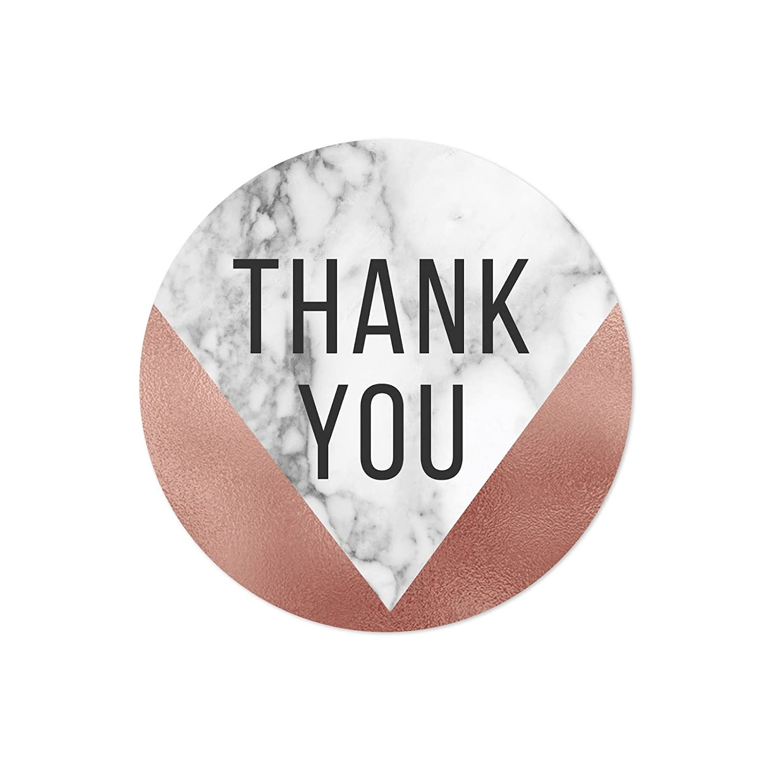 Amazon com andaz press round 2 inch circle label stickers marble and faux rose gold foil thank you 40 pack health personal care