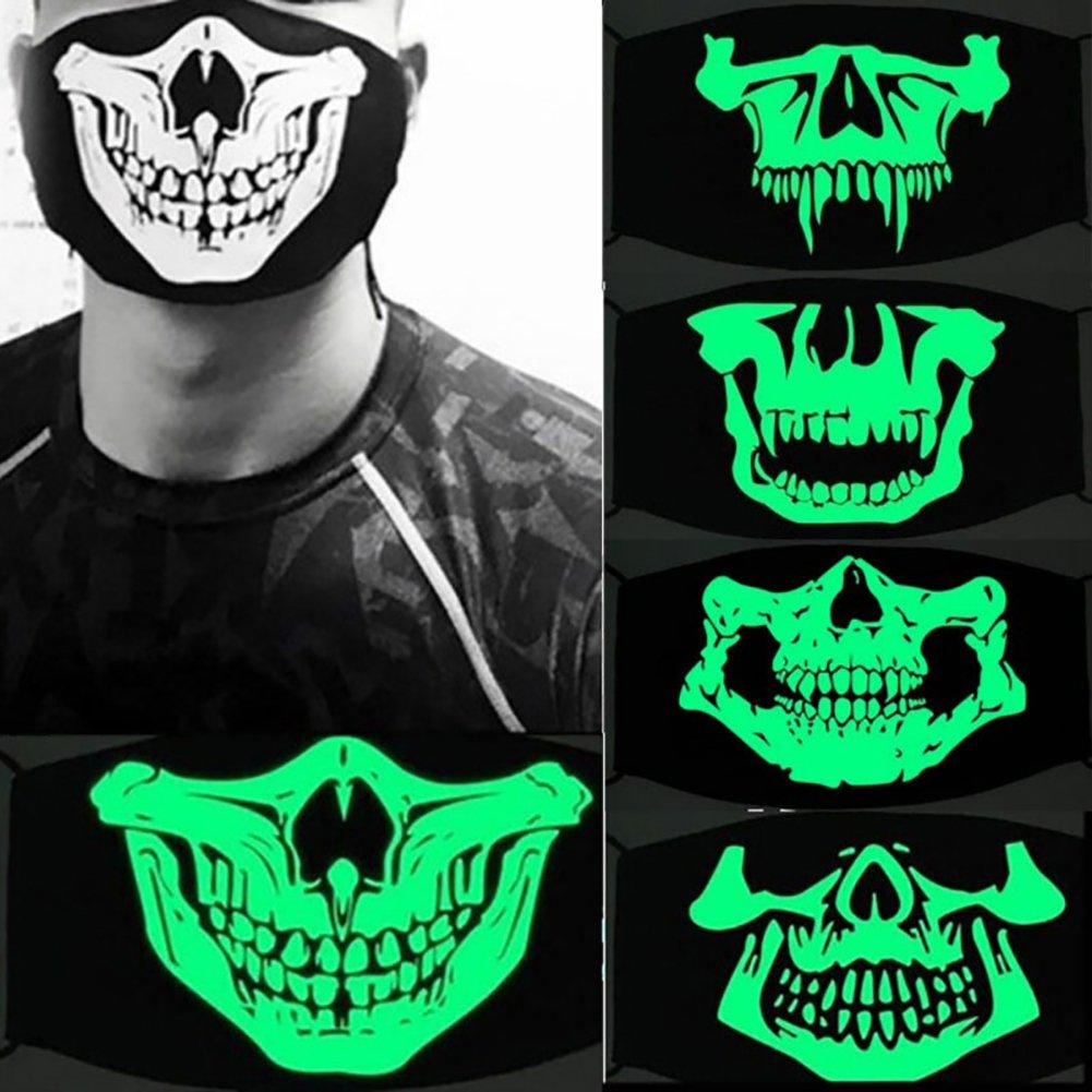 Trenton Halloween Skull Pattern Cool Luminous Unisex Cotton Blend Anti Dust Face Mouth Mask for Man Woman by TRENTON (Image #3)