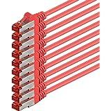1aTTack CAT6PIMF SSTP Netzwerk Patch-Kabel mit 2x RJ45Stecker doppelt geschirmt 5Stück - rot - 10 Stück 1,0 Meter