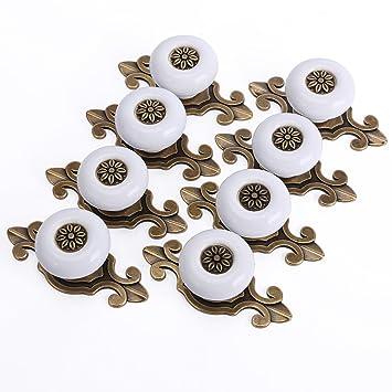 8 x Poignée bouton céramique métal pour meuble rétro vintage blanc ...