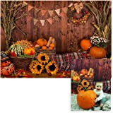 Funnytree 7x5ft Fall Thanksgiving Photography Backdrop Rustic Wooden Floor Barn Harvest Background Autumn Pumpkins Maple…