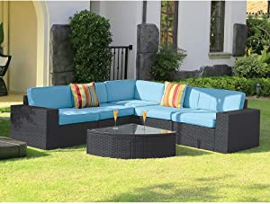 Stamo 6 Piece Outdoor Patio Conversation Furniture Sets with Glass Table, All Weather Black PE Rattan Wicker Cushioned Sectional Patio Sofa with Olefin Blue Cushions and Cover