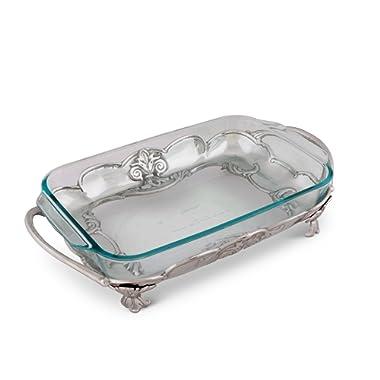 Arthur Court Aluminum Fleur-De-Lis Pyrex Casserole Dish Holder 17  3 Quart