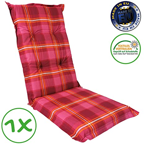 SunDeluxe Cojín para sillas de jardín Exterior Acolchados con Respaldo Alto 120x50x8 cm - Cómodo Relleno de Espuma y Funda 100% algodón ÖkoTex100, ...