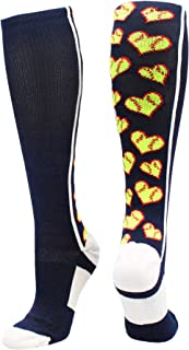 product image for MadSportsStuff Softball Socks with Love Softball Hearts for Girls or Women - Athletic Over The Calf Socks
