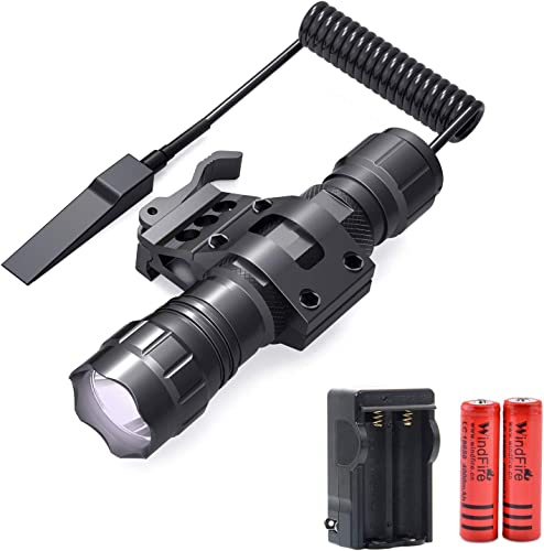 WINDFIRE Tactical Flashlight 2000 Lumens LED Weapon Light with Quick Release Picatinny Rail Mount Offset Mount for Outdoor Hunting,Remote Pressure Switch,Batteries Charger Included