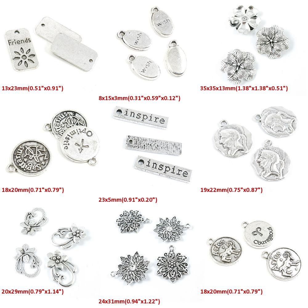 Amazon Com 30 Pieces Antique Silver Tone Jewelry Making Charms