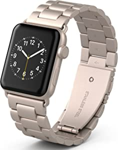 PUGO TOP Bands Compatible with apple watch 42mm 44mm Series 6/5/4/3/2/1/SE for Men Women Stainless Steel Iwatch Strap Replacement Band with Modern Butterfly Buckle. (42mm/44mm, Champagne Gold)