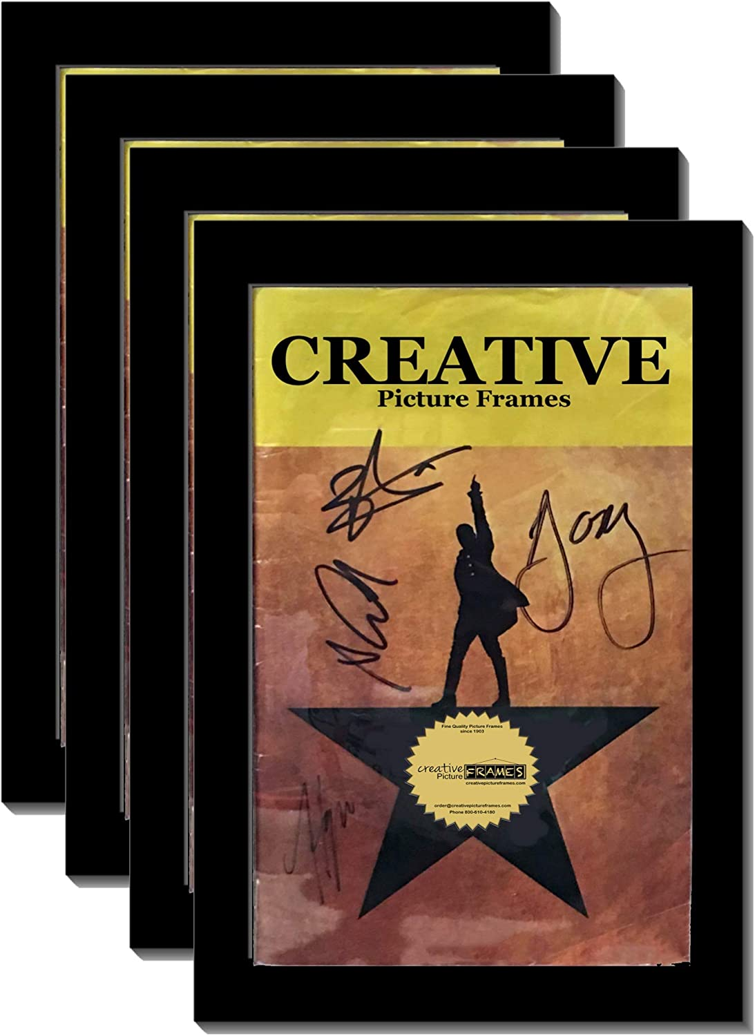 CreativePF [4pk5.5x8.5bk] Black Theatre Frame, Holds 5.5x8.5-inch Media with Installed Hanger and Easel (4-Pack Theatre Bill not Included)