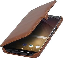 StilGut Housse pour Samsung Galaxy S8 en Cuir véritable à Ouverture latérale, Cognac avec Clip