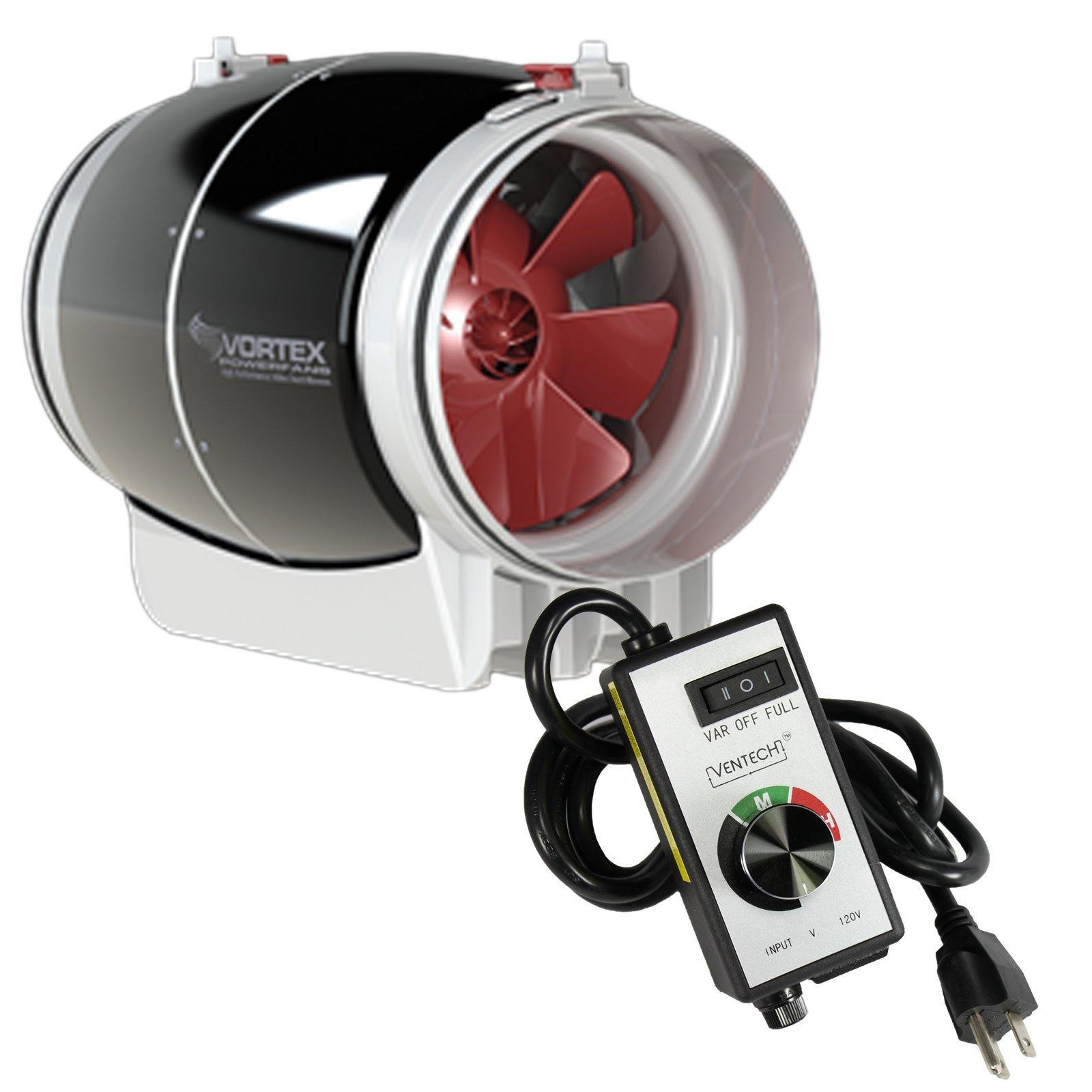 6'' inch Vortex S Line S-600 Power Fan 347 CFM by Atmosphere + VenTech Variable Fan Speed Controller