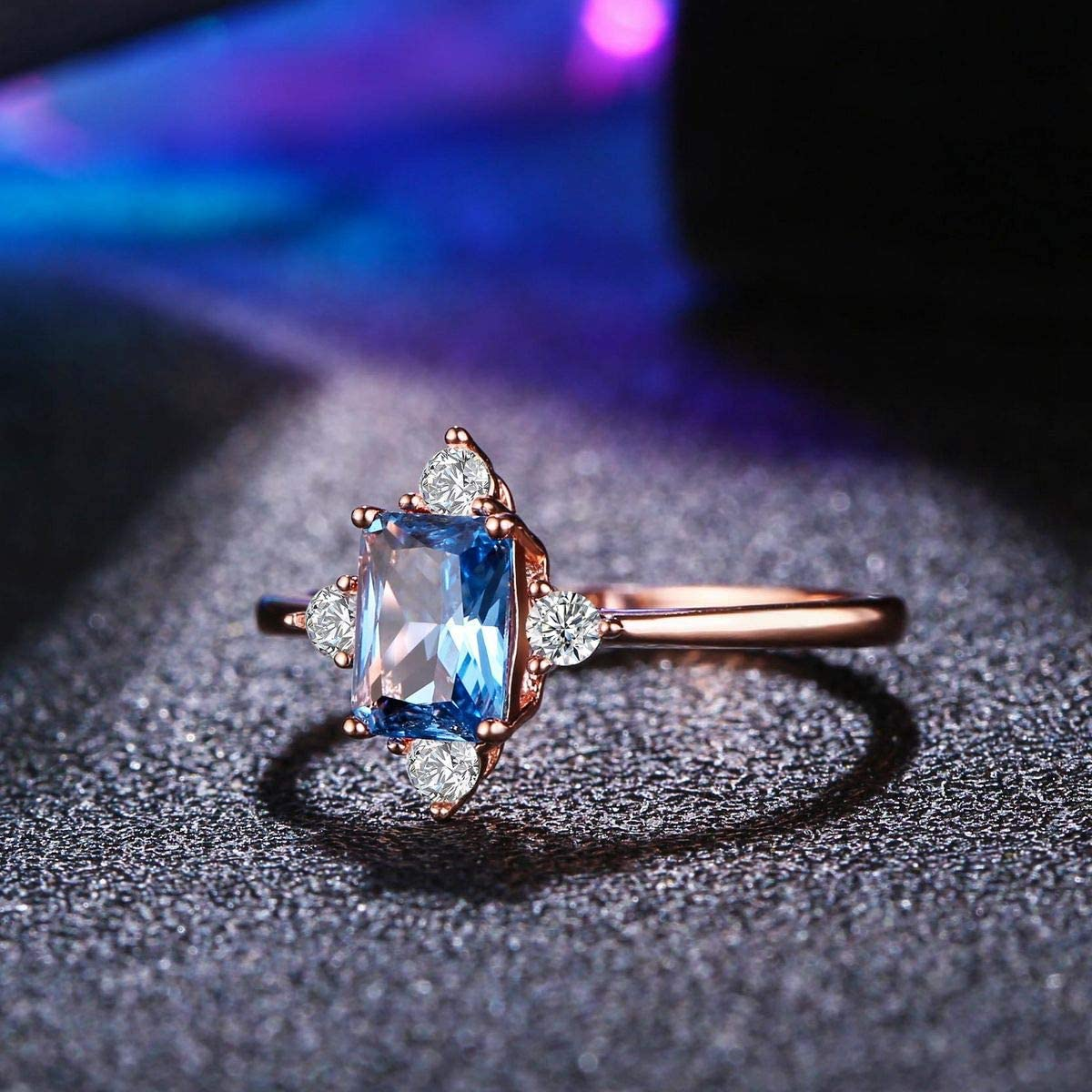 LAZLUVU Blue Topaz Rings Rose Gold Engagement Promise Cubic Zirconia Rings Size 5-10 for Womens Mom