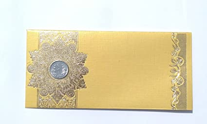 Parvenu Shagun Star Coin Money Envelopes in Yellow Color Pack of 20 Pieces