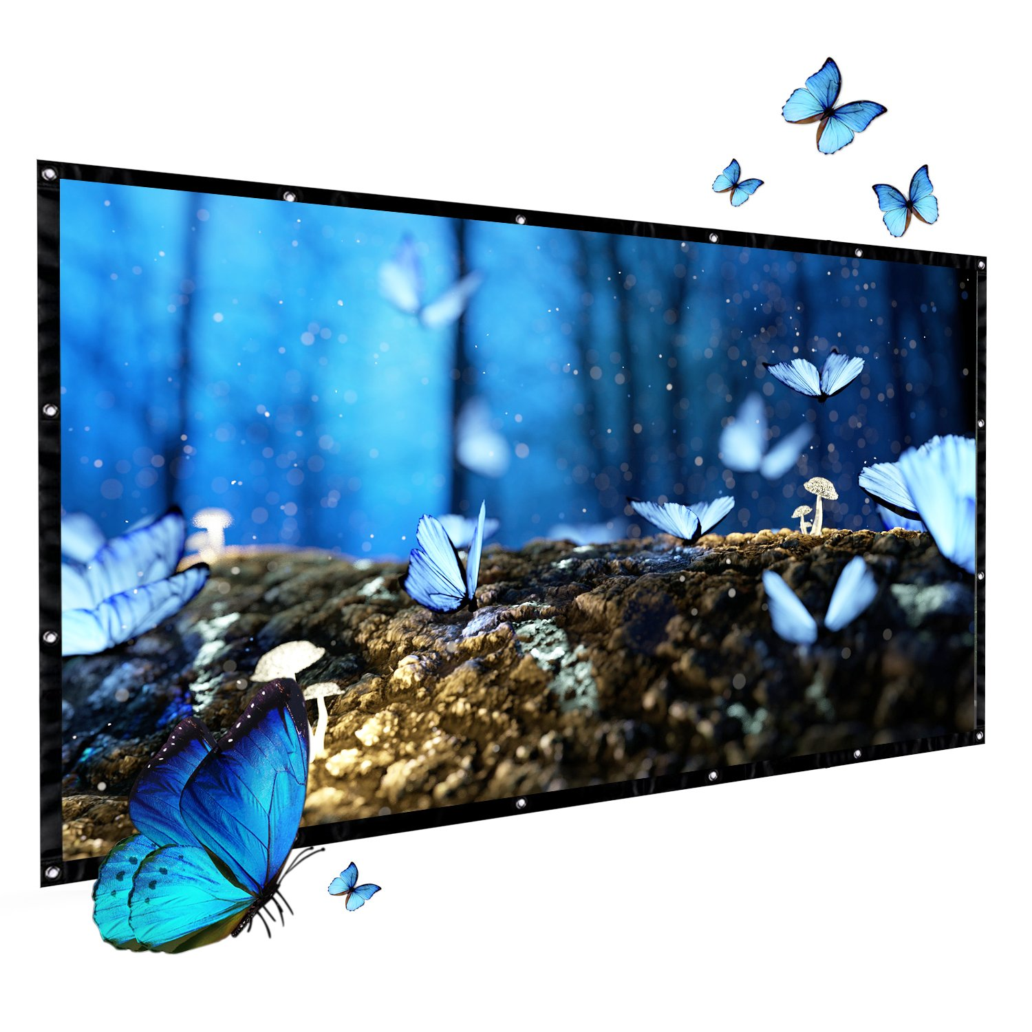 GuckZahl 100Inch Projection Screen 16:9 HD Foldable Anti-crease Portable,Lightweight,Projector Movies Screen Outdoor Indoor for Home Theater/Camping/Home Theater/Education/Office Presentation