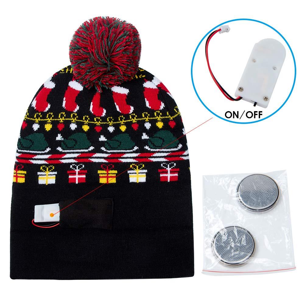 3872656cfe77f ... RAISEVERN Unisex Ugly LED Christmas Hat Novelty Colorful Light-up  Stylish Knitted Sweater Xmas Party ...