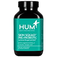 HUM Skin Squad Pre+Probiotic - Clear Skin Support Supplement - Nurture Your Skin & Your Gut - Bacillus, Lactobacillus & Bifidobacterium Blend for Breakouts & Problem Skin (60 Vegan Capsules)