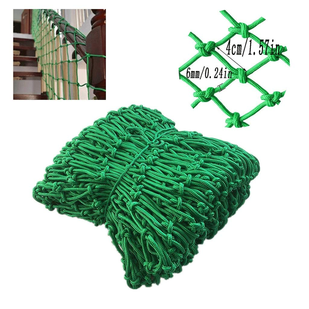Green Child Safety Net Staircase Balcony Protection Net Anti-cat Net Decoration Net Anti-Fall Net Multi-Size Optional (mesh 4cm / Rope Thick 6mm) (Size : 3x4m)