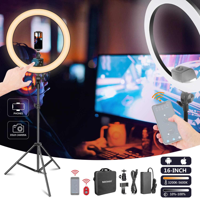 Neewer App Control Anillo Luz LED 41cm T/áctil Manual Soporte con Pantalla LCD Control Luces M/últiples 3200-5600K Soporte Luz Incluido para Maquillaje Youtube Video Blogger Negro