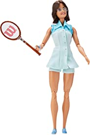 Barbie Inspiring Women Series Billie Jean King Collectible Doll, Approx. 12-in, Wearing Tennis Dress and Accessories, with D