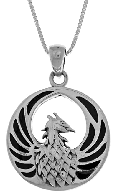 Amazon jewelry trends sterling silver phoenix fire bird pendant jewelry trends sterling silver phoenix fire bird pendant with black onyx on 18 inch box chain mozeypictures Gallery
