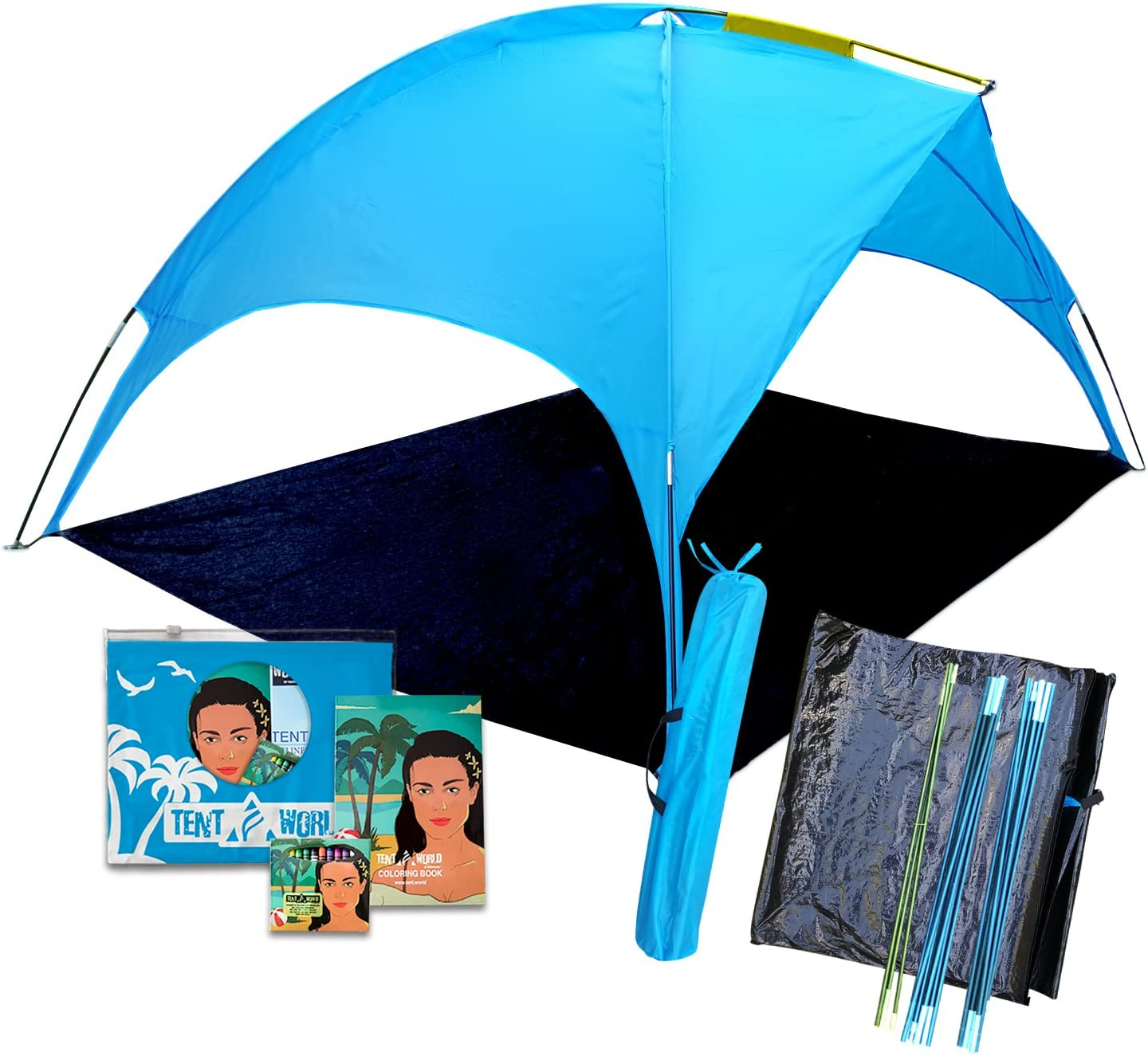 Beach Tent canopy Saturn shades better than umbrella 4 people Shade shack, easy up sports cabana, waterproof rain Sun shelter for kids adults, outdoor UV protection sunshade for sporting events