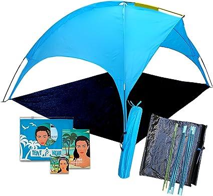 Protection UPF 50+ Tente de Plage de Protection Solaire pour Famille Bessport Tente de Plage pour 2 et 3 Personnes abri de Plage Jardin Ultra-l/éger avec Base Extensible Petit Pack
