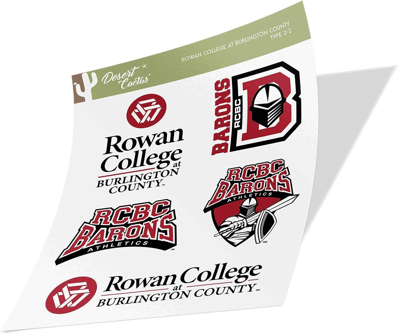 Type 2 Sheet Rowan College at Burlington County RCBC Barons NCAA Sticker Vinyl Decal Laptop Water Bottle Car Scrapbook