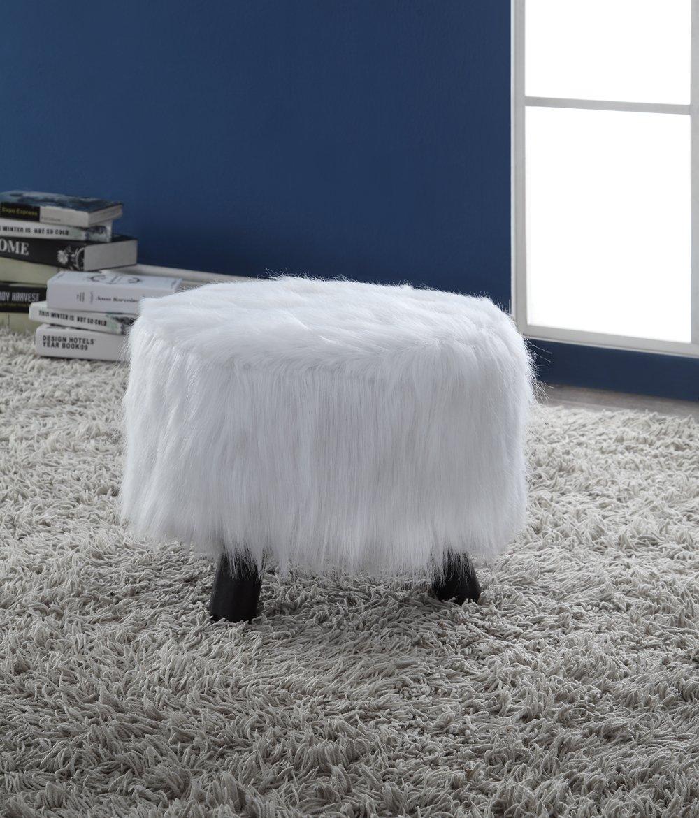 Linon Flokati Foot, 16-Inch, White Stool, 16 W x 16 D x 12.6 H,