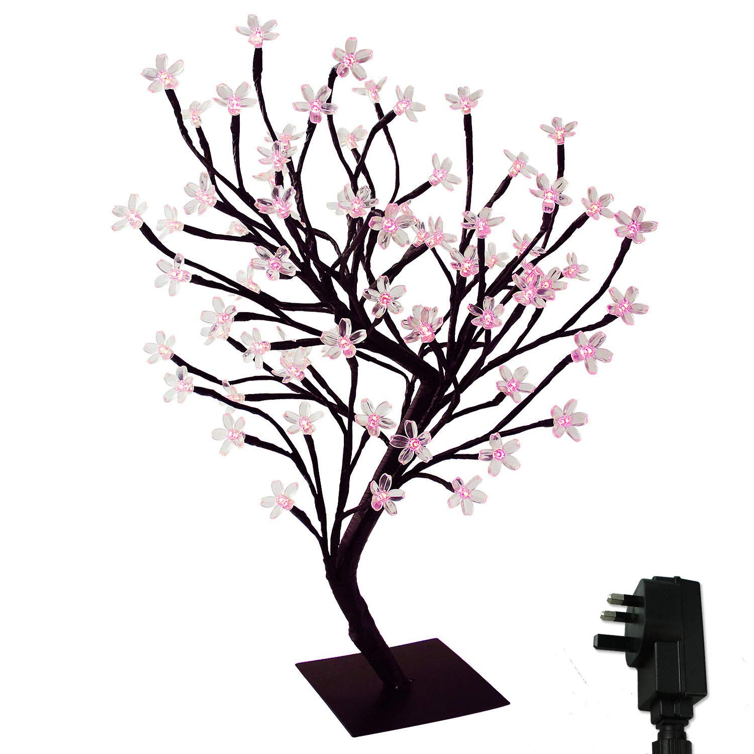 LED Cherry Blossom Bonsai Stylt Tree Lamp 45cm with 72 LED Blue, Stable Square Metal Base, Christmas Xmas Tree Lights YOSION