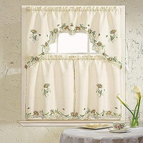 Daniel S Bath Beyond Embroidery Kitchen Curtain With Scarf 30 X 36 30 X 36 60 X 36 Cosmos Beige 3 Piece Home Kitchen