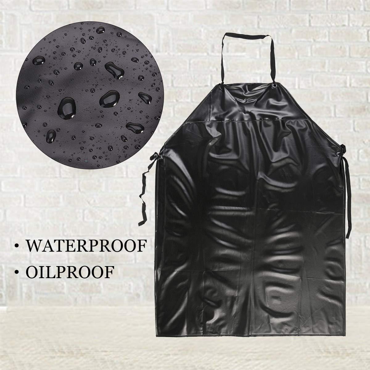 Black BESTOMZ Heavy Duty Apron Unisex Apron Waterproof for Butchers Kitchen