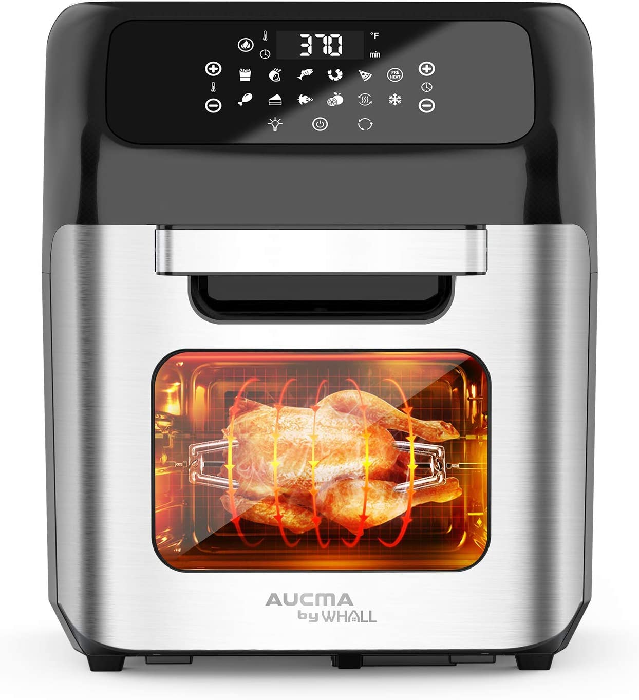 whall Air Fryer, 13QT Air Fryer Oven, Family Rotisserie Oven, 1700W Electric Air Fryer Toaster Oven, Tilt LED Digital Touchscreen, 12-in-1 Presets for Heating, Baking, Roasting & Dehydrating, Accessories & Cookbook (Renewed)