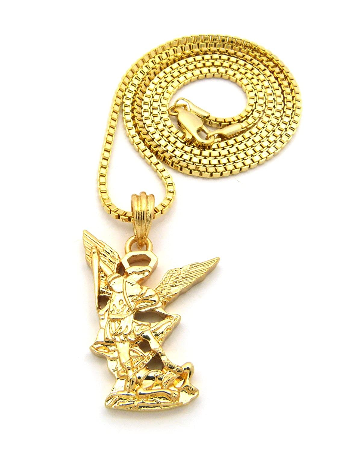 Amazon st michael the archangel pendant with 2mm box chain amazon st michael the archangel pendant with 2mm box chain necklace gold tone 24 jewelry mozeypictures Gallery