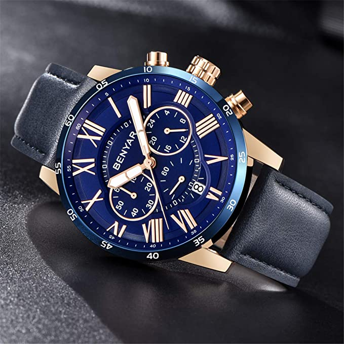 Buy Benyar Men S Watch 2018 New Sports Business Casual Large Dial Chronograph Quartz By5139 Blue Online At Low Prices In India Amazon In