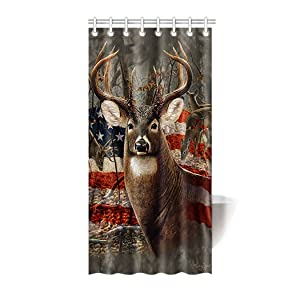"""HommomH"" 36"" x 72"" Shower Curtain With Hooks Bathroom Anti-Bacterial Waterproof Americana Flag Deer"