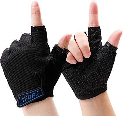 Men Climbing Bicycle Outdoor Sport Bike Anti-skid Half Finger Gloves Flame Style