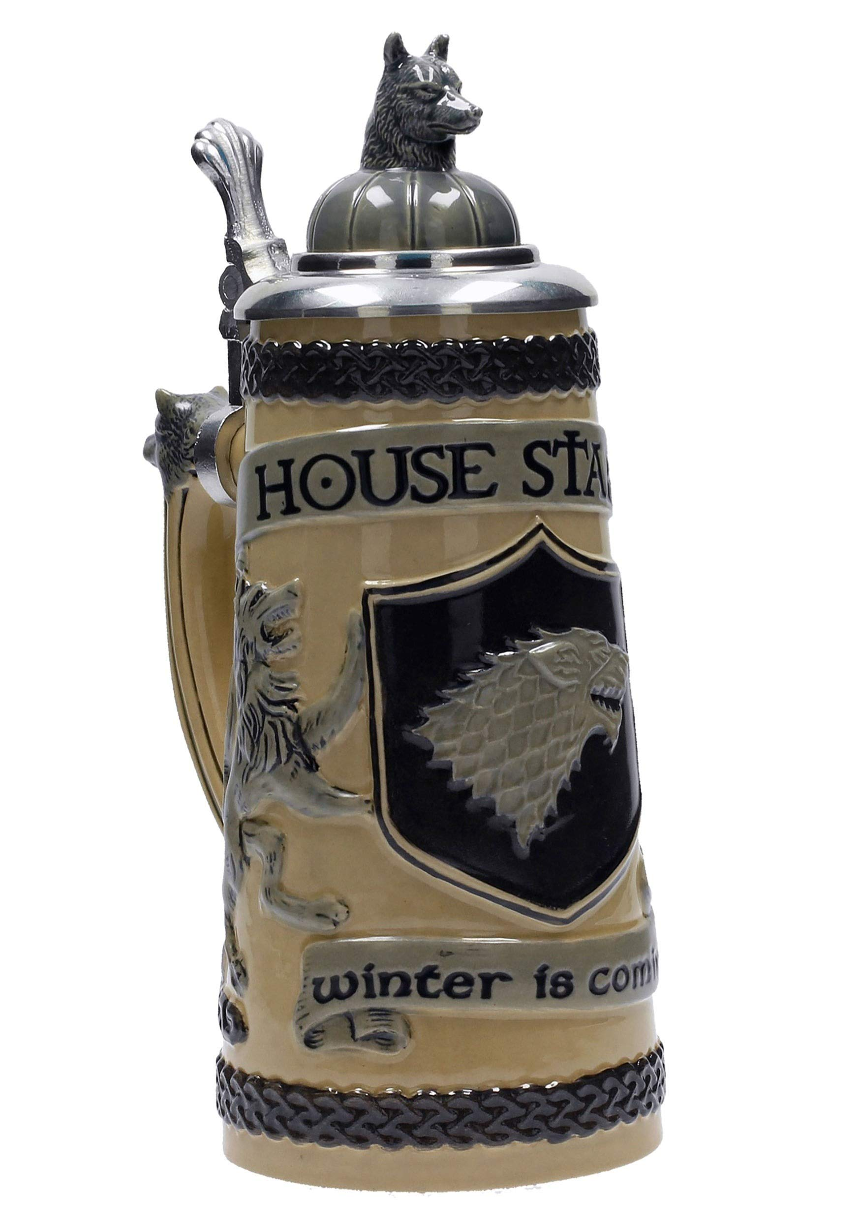 Game of Thrones House Stark Beer Stein | Collectible Authentic Ceramic Drinking Mug | 22 Ounces by SD Toys Merchandising (Image #2)