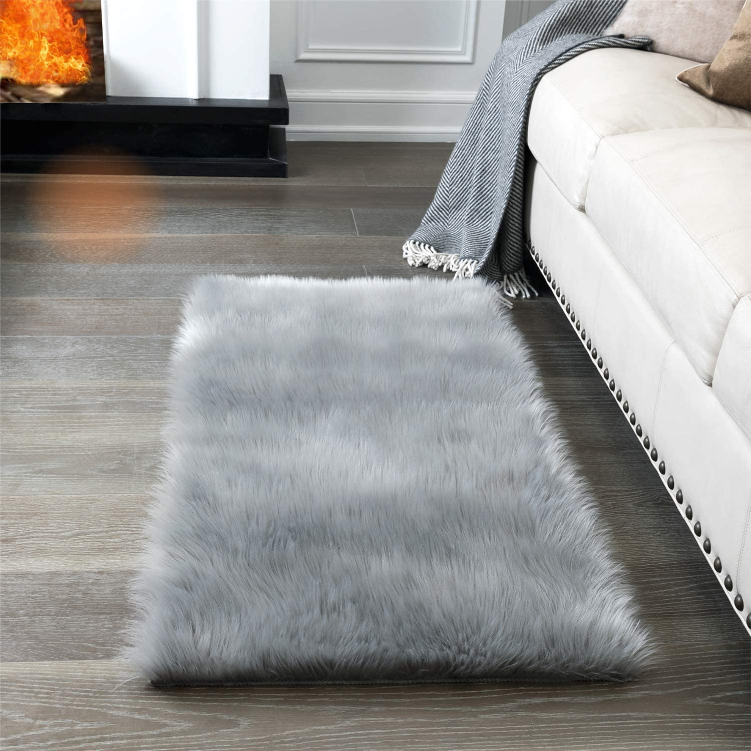 Fluffy Plain Sheepskin Rugs Soft Thick Mats Room Rugs Area Shaggy Fur Faux Wool