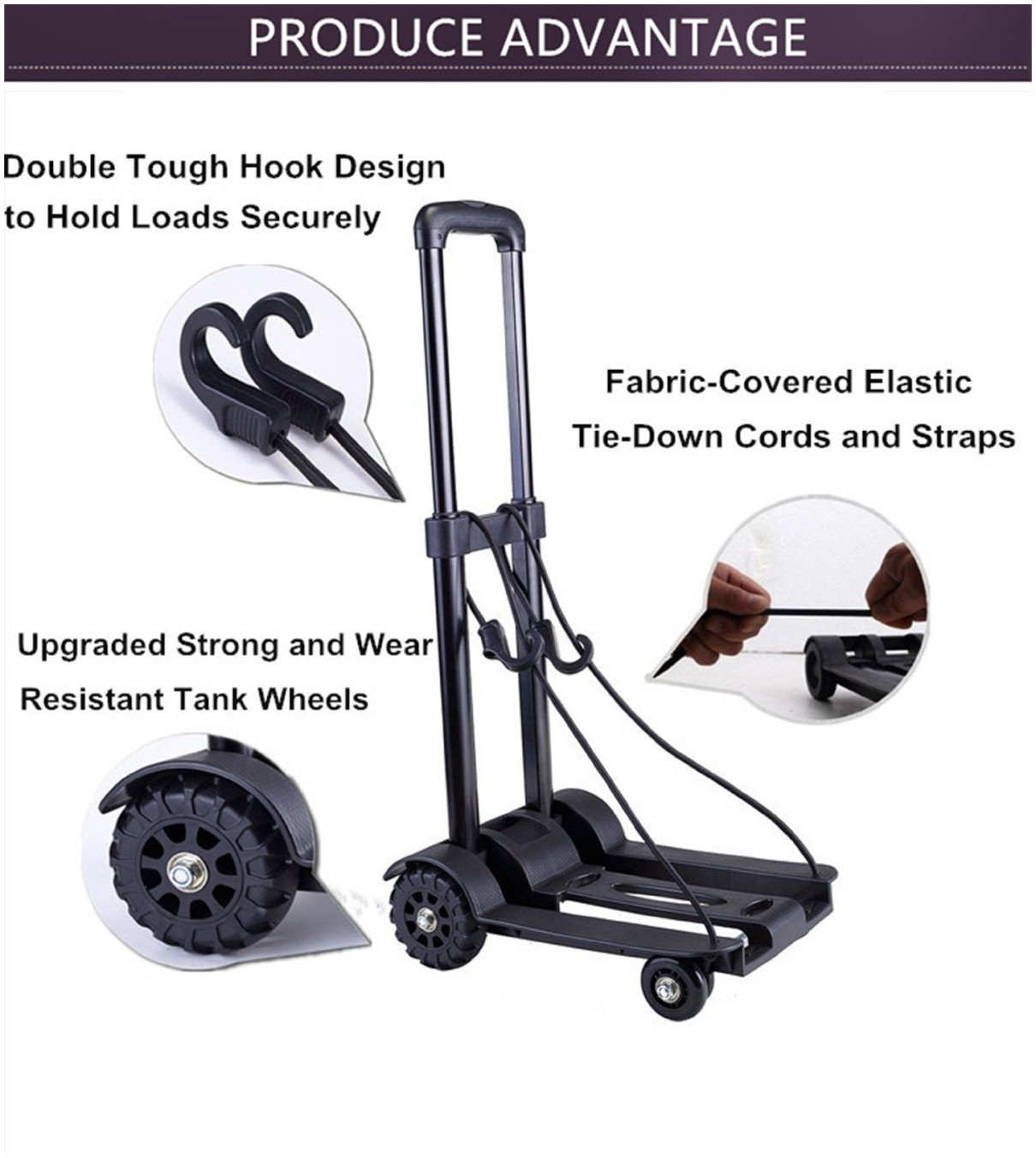 Folding Hand Truck, 70 Kg/155 lbs Heavy Duty 4-Wheel Solid Construction Utility Cart Compact and Lightweight for Luggage, Personal, Travel, Auto, Moving and Office Use - Portable Fold Up Dolly by ROYI by ROYI