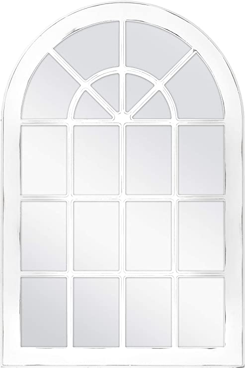Distressed White Windowpane Wall Mirror with Hooks White 24x36