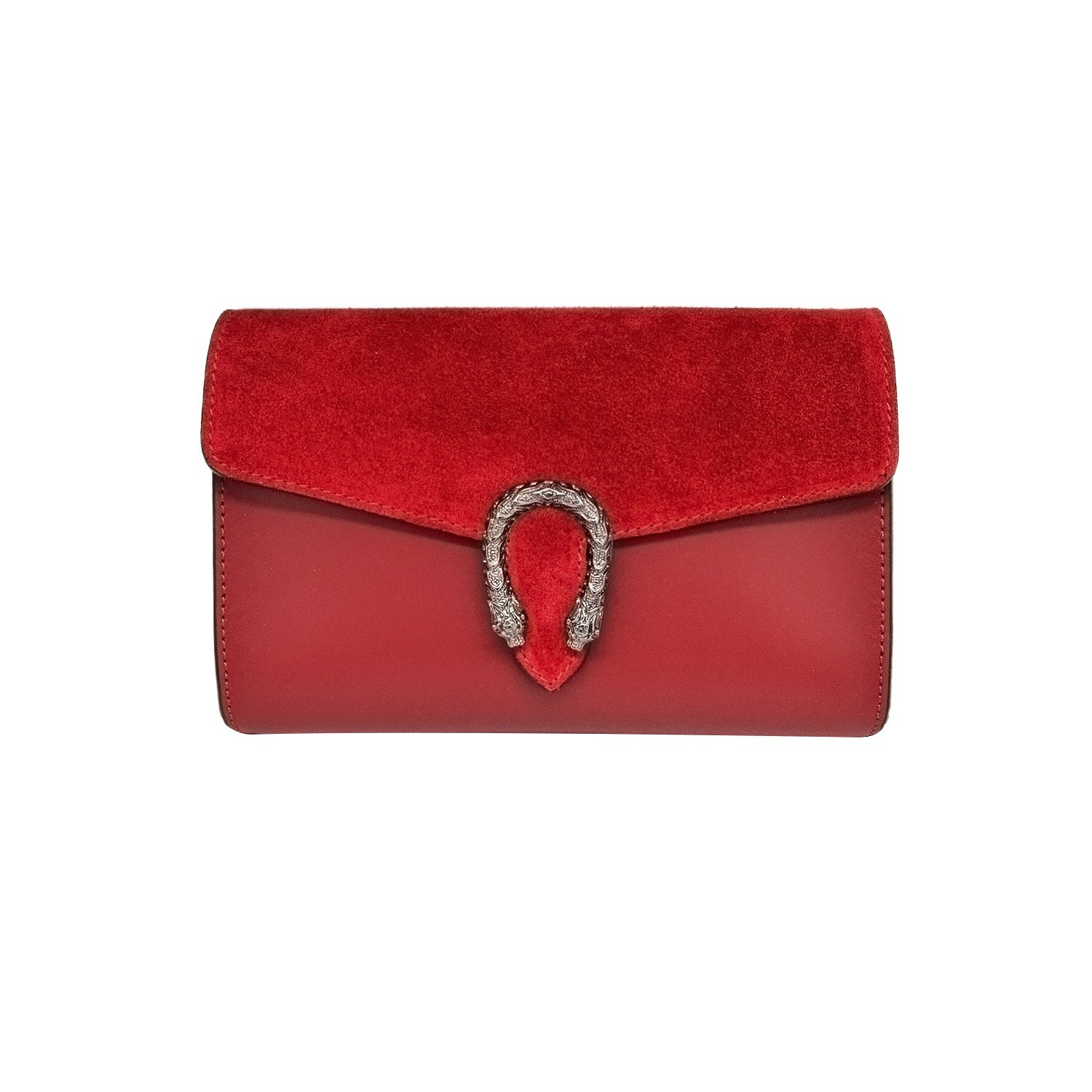 RONDA CLUTCH Italian Baugette clutch mini wallet cross body bag with nickel chain smooth stiff leather and suede (Clutch red)