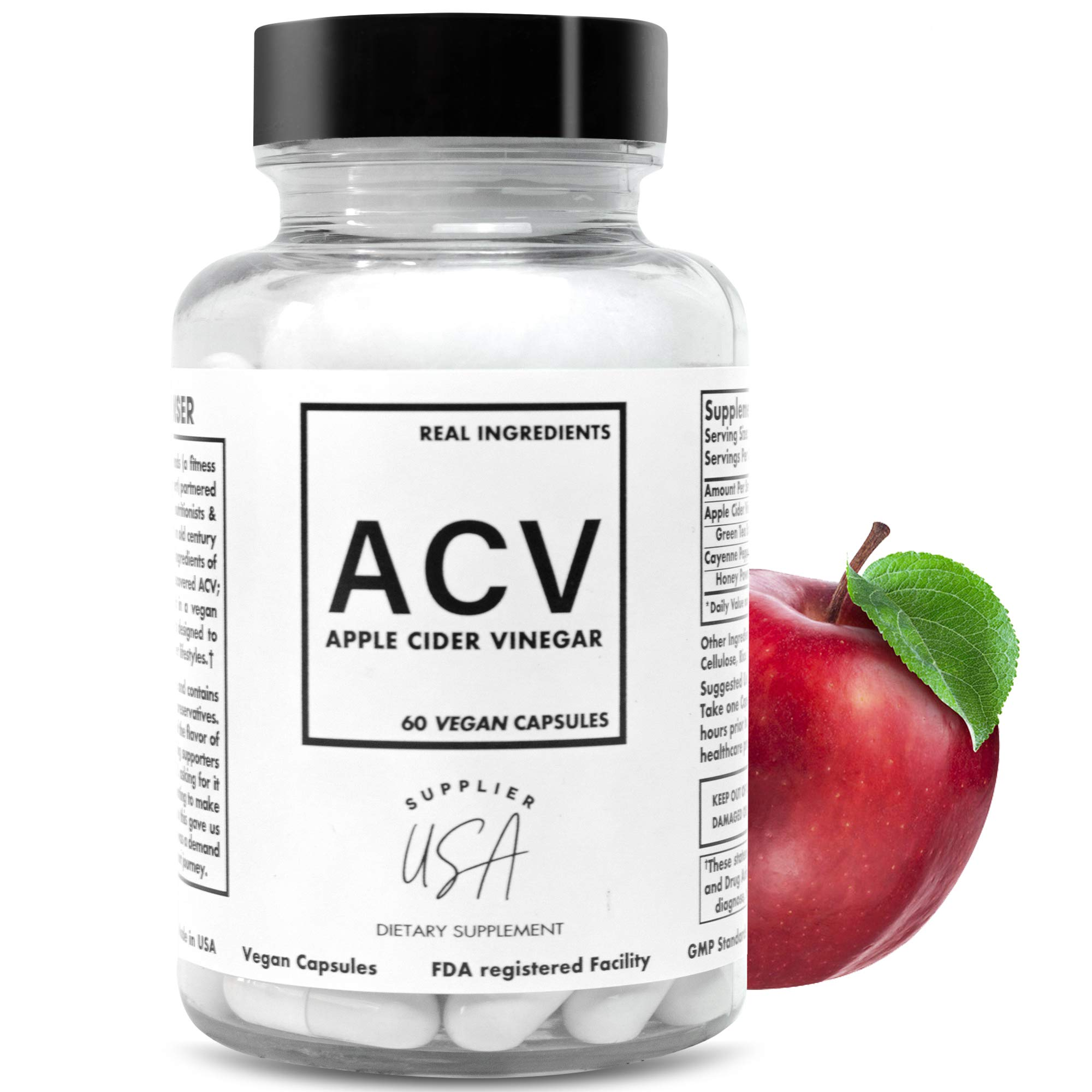 Supplier USA ACV Apple Cider Vinegar Capsules Vegetarian - Natural Weight Support, Detox, Digestion - Powerful 500mg Cleanser, Premium-Non-GMO Cider Capsules, FDA Registered Facility, USA Made