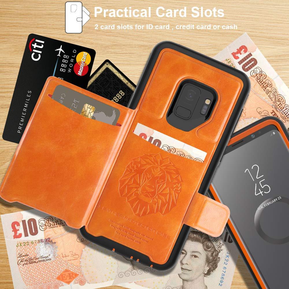 SXcase Samsung Galaxy S9 Case,Leather Card Holder Shockproof Tough Phone Case for Samsung Galaxy S9(5.8 inch)[Orange]