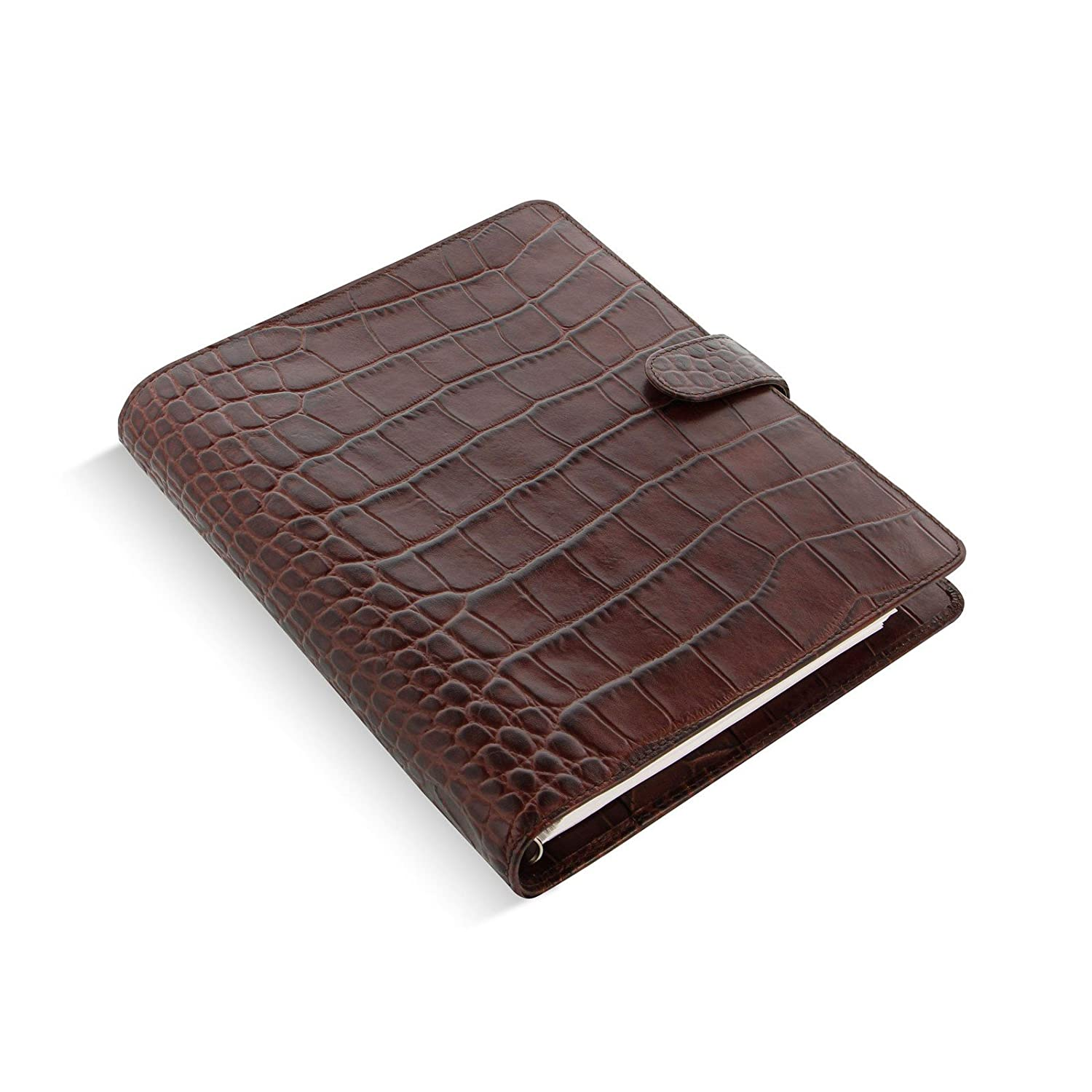 Filofax Classic Croc Print Leather Organizer Agenda Calendar A5 Size in Chestnut Brown with DiLoro Jot Pad Refills (A5, Chestnut 2017, 026017)