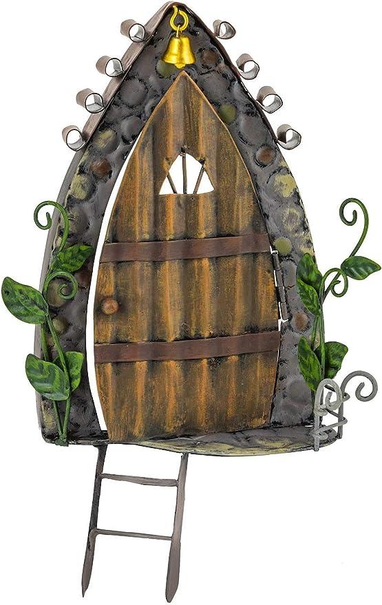Fountasia - Adorno de jardín de Metal con Forma de Hada y Campana Dorada y Escalera, Jardines de Hadas: Amazon.es: Jardín